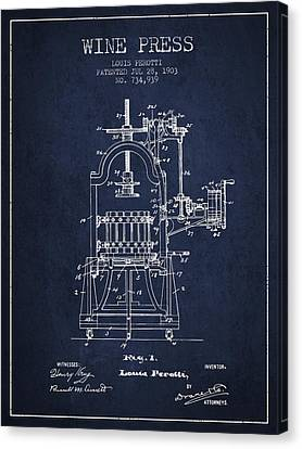 1903 Wine Press Patent - Navy Blue 02 Canvas Print by Aged Pixel