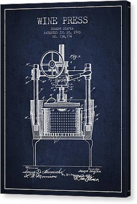 1903 Wine Press Patent - Navy Blue Canvas Print by Aged Pixel