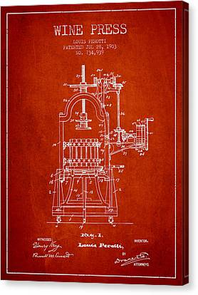 1903 Wine Press Patent - Red 02 Canvas Print by Aged Pixel