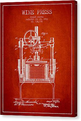 1903 Wine Press Patent - Red Canvas Print by Aged Pixel