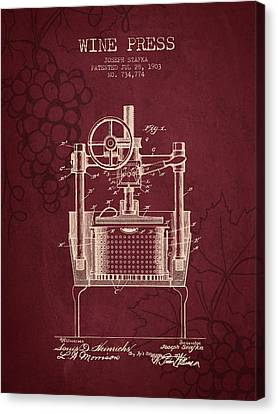1903 Wine Press Patent - Red Wine Canvas Print by Aged Pixel