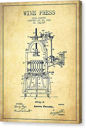 1903 Wine Press Patent - Vintage 02 Canvas Print by Aged Pixel