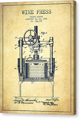1903 Wine Press Patent - Vintage Canvas Print by Aged Pixel