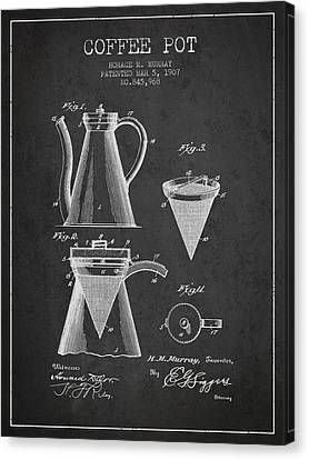 1907 Coffee Pot Patent - Charcoal Canvas Print by Aged Pixel