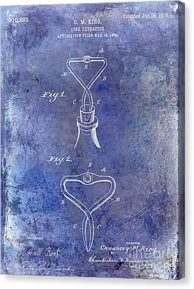 1909 Cork Extractor Patent Blue Canvas Print by Jon Neidert