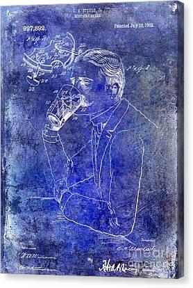 1909 Mustache Guard Patent Blue Canvas Print by Jon Neidert