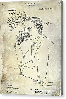 1909 Mustache Guard Patent Canvas Print by Jon Neidert