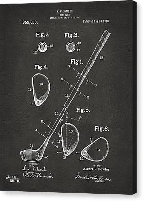 1910 Golf Club Patent Artwork - Gray Canvas Print by Nikki Marie Smith