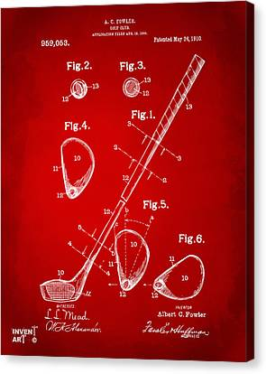 1910 Golf Club Patent Artwork Red Canvas Print by Nikki Marie Smith