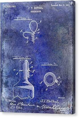 1911 Corkscrew Patent Blue Canvas Print by Jon Neidert