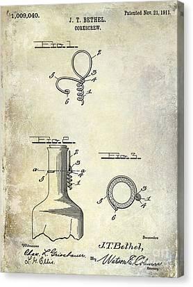 1911 Corkscrew Patent  Canvas Print by Jon Neidert
