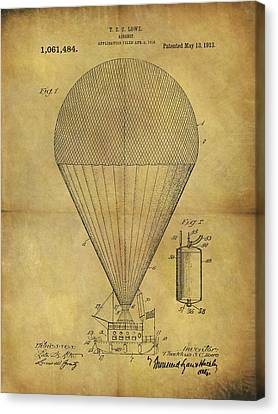 1913 Hot Air Balloon Patent Canvas Print by Dan Sproul