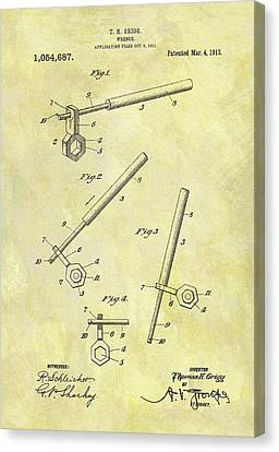 1913 Wrench Patent Canvas Print by Dan Sproul