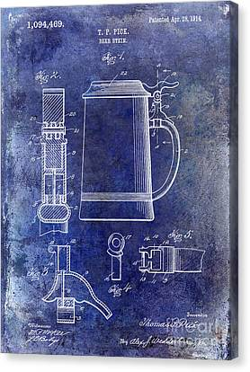 1914 Beer Stein Patent Blue Canvas Print by Jon Neidert