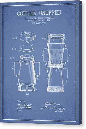 1914 Coffee Dripper Patent - Light Blue Canvas Print by Aged Pixel