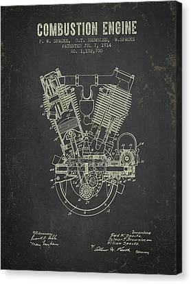 1914 Compustion Engine Patent - Dark Grunge Canvas Print by Aged Pixel