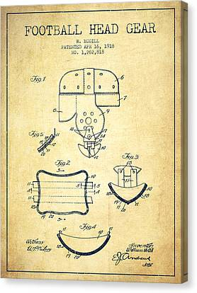 1918 Football Head Gear Patent - Vintage Canvas Print by Aged Pixel
