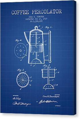 1919 Coffee Percolator Patent - Blueprint Canvas Print by Aged Pixel
