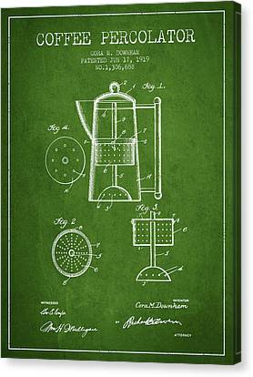 1919 Coffee Percolator Patent - Green Canvas Print by Aged Pixel