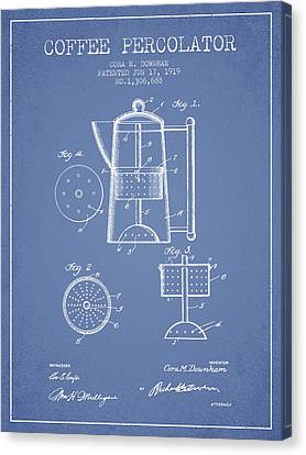 1919 Coffee Percolator Patent - Light Blue Canvas Print by Aged Pixel