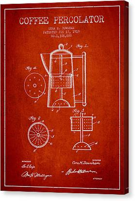 1919 Coffee Percolator Patent - Red Canvas Print by Aged Pixel
