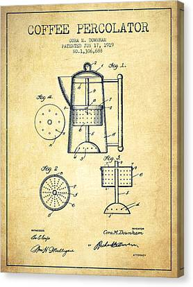 1919 Coffee Percolator Patent - Vintage Canvas Print by Aged Pixel