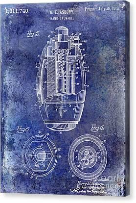 1919 Hand Grenade Patent Blue Canvas Print by Jon Neidert