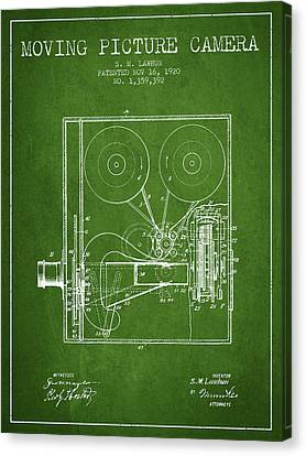 1920 Moving Picture Camera Patent - Green Canvas Print by Aged Pixel