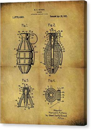 1921 Grenade Patent Canvas Print by Dan Sproul