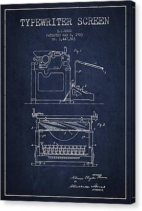 1923 Typewriter Screen Patent - Navy Blue Canvas Print by Aged Pixel