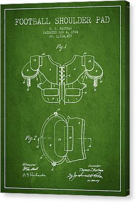1924 Football Shoulder Pad Patent - Green Canvas Print by Aged Pixel