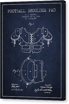 1924 Football Shoulder Pad Patent - Navy Blue Canvas Print by Aged Pixel