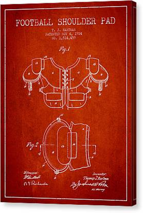 1924 Football Shoulder Pad Patent - Red Canvas Print by Aged Pixel