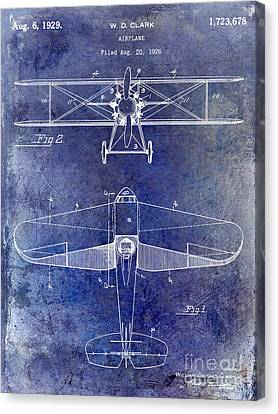 1929 Airplane Patent Blue Canvas Print by Jon Neidert
