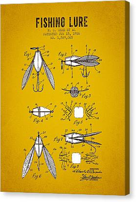 1926 Fishing Lure Patent - Yellow Brown Canvas Print by Aged Pixel