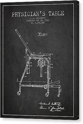 1926 Physicians Table Patent - Charcoal Canvas Print by Aged Pixel