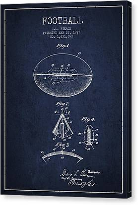 1927 Football Patent - Navy Blue Canvas Print by Aged Pixel