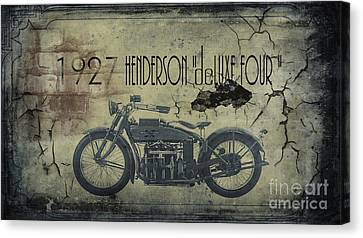 1927 Henderson Vintage Motorcycle Canvas Print by Cinema Photography