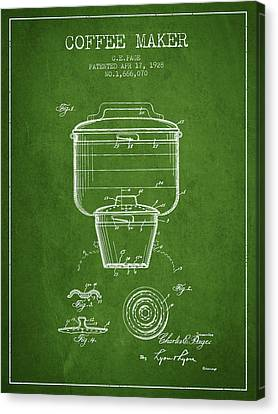 1928 Coffee Maker Patent - Green Canvas Print by Aged Pixel