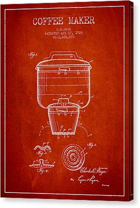 1928 Coffee Maker Patent - Red Canvas Print by Aged Pixel