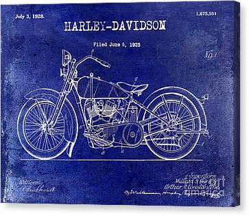 1928 Harley Davidson Patent Drawing Blue Canvas Print by Jon Neidert