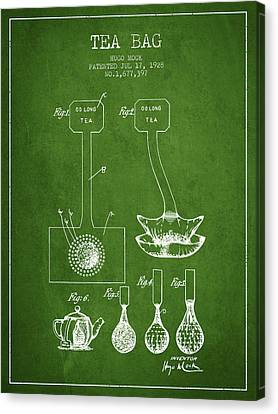 1928 Tea Bag Patent 02 - Green Canvas Print by Aged Pixel