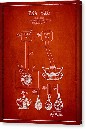 1928 Tea Bag Patent 02 - Red Canvas Print by Aged Pixel