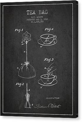 1928 Tea Bag Patent - Charcoal Canvas Print by Aged Pixel