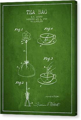 1928 Tea Bag Patent - Green Canvas Print by Aged Pixel