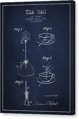 1928 Tea Bag Patent - Navy Blue Canvas Print by Aged Pixel