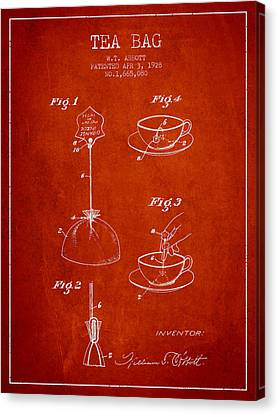 1928 Tea Bag Patent - Red Canvas Print by Aged Pixel
