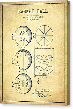 1929 Basket Ball Patent - Vintage Canvas Print by Aged Pixel