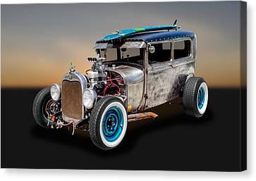 1929 Ford Tudor Sedan Rat Rod   -   29fdrr77 Canvas Print by Frank J Benz