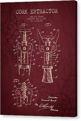 1930 Cork Extractor Patent - Red Wine Canvas Print by Aged Pixel